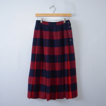 Vintage 80's red and navy plaid pleated wool midi skirt, women's size 10