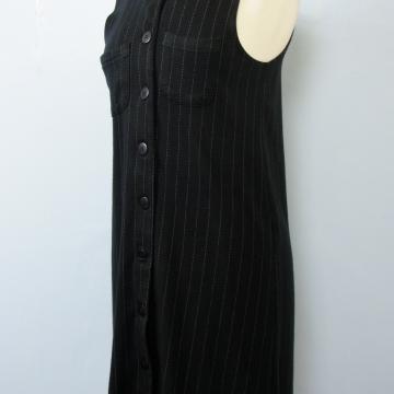 90's button up black pinstripe mini dress, women's medium