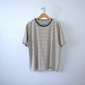 Vintage 90's navy and white striped tee shirt, women's size XL