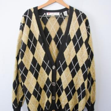 Vintage 80's ugly Christmas argyle cardigan sweater, women's size large