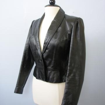 70's cropped black leather jacket, women's medium