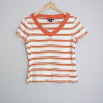 90's orange striped shirt, women's size large