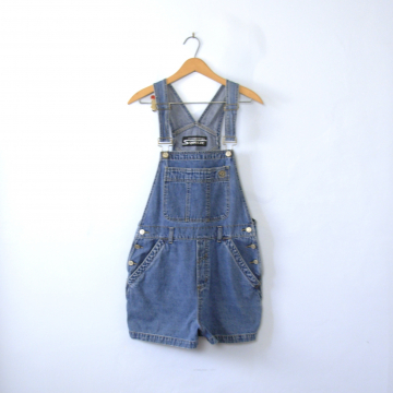 Vintage 90's Stephen Hardy overall shorts, light denim overalls, size large / medium
