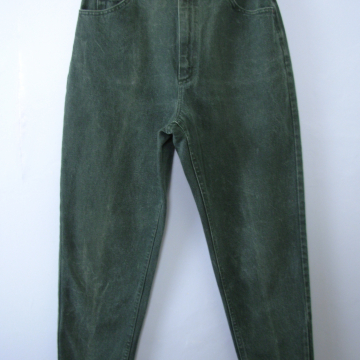 Vintage 80's Lee forest green denim high waisted mom jeans, tapered leg, size 14 / 12