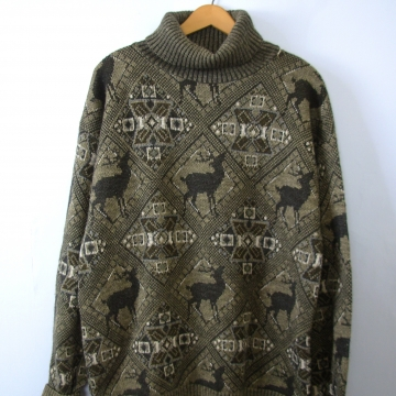 Vintage 90's oversized wool fair isle sweater with deer, men's size large