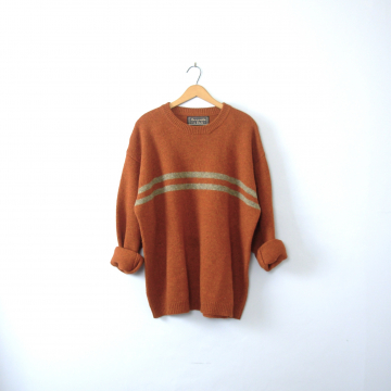 Vintage 90's rust orange sweater, orange wool sweater, Abercrombie & Fitch, size XL