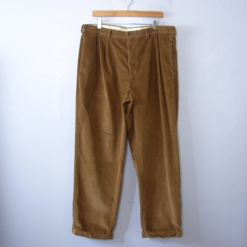 Vintage 90's light brown corduroy pants with ankle cuff, tapered leg men's size 38