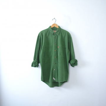 Vintage 90's Levi's green denim shirt, denim button up, size medium