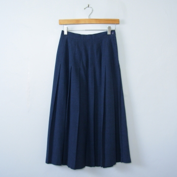 80's blue pleated midi skirt, women's small