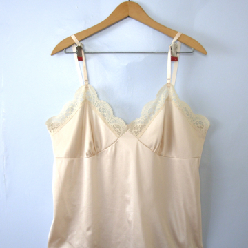 Vintage 80's pale silky camisole with lace trim, women's size XL