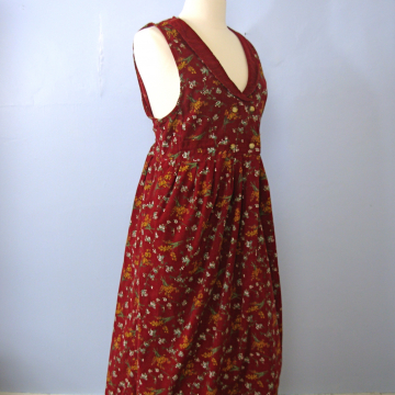 Vintage 90's red floral corduroy jumper midi dress with pockets, women's size large