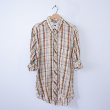 Vintage 70's brown plaid western shirt with pocket, men's size medium