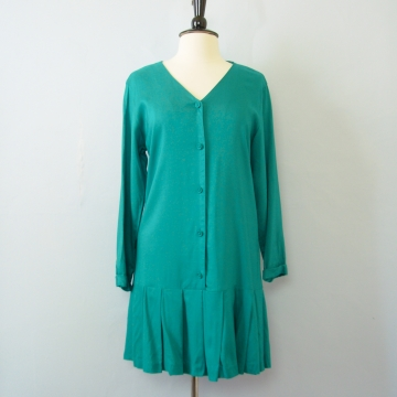 80's teal blue dropped waist pleated dress, women's size medium
