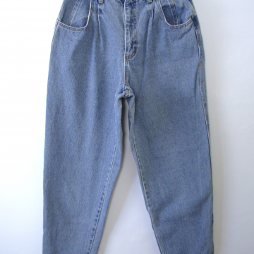Vintage 80's The Limited high waisted pleated jeans, tapered leg blue denim, women's size 12 / 10