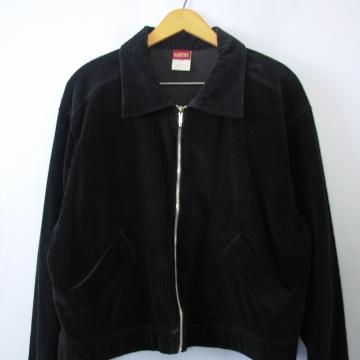 90's grunge black corduroy jacket, women's large