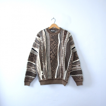 Vintage 80's light brown COOGI style sweater, size large