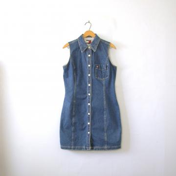 Vintage 90's Tommy Hilfiger sleeveless denim dress, size 10 / medium