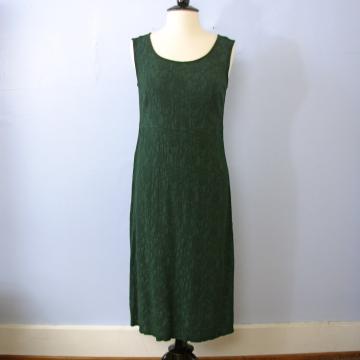 Vintage 90's grunge forest green sleeveless midi dress, women's size large