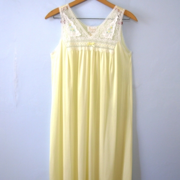 Vintage 80's lemon meringue night gown dress, women's size small