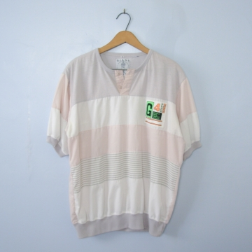 Vintage 80's G4 pink and white colorblock shirt, women's size medium