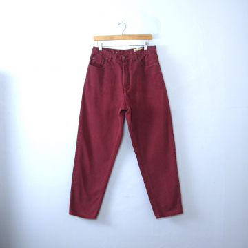 Vintage 80's Eddie Bauer burgundy denim high waisted mom jeans, tapered leg, size 14 / 12