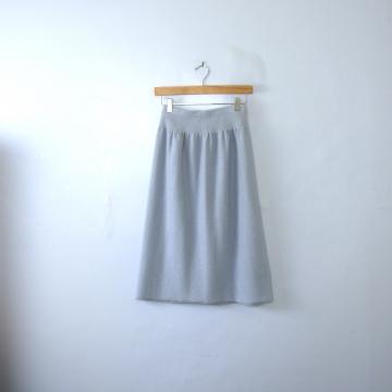 Vintage 80's light blue knee length knit skirt, size small
