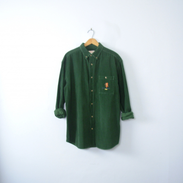 Vintage 90's green corduroy shirt button up, size medium