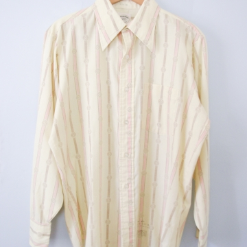 Vintage 70's yellow striped button up shirt with pocket, men's size medium