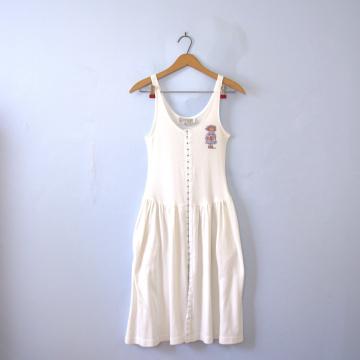 Vintage 80's white slip dress with pockets, women's size medium / small