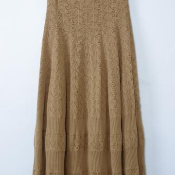 40's caramel brown crochet knit midi skirt, women's small