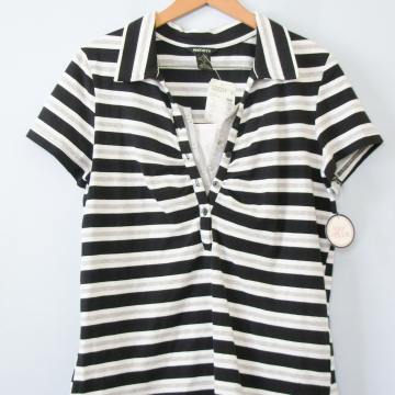 90's black and white striped polo shirt, women's size XL