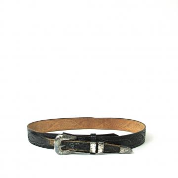 Vintage 80's black tooled leather western belt, size 34 / medium
