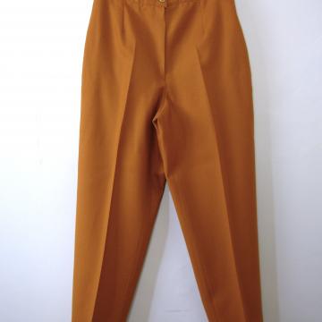 Vintage 80's pumpkin orange wool pants / trousers, women's size 10 / 8