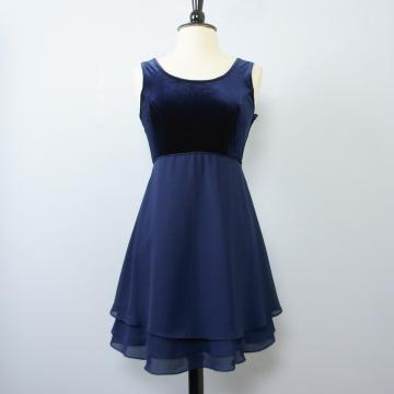 90's blue velvet and chiffon babydoll mini dress, women's medium / 8