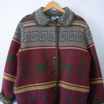 90's deer forest wool jacket, women's medium