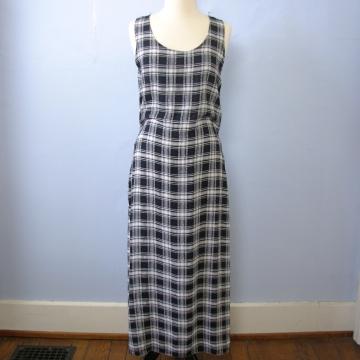 Vintage 90's grunge black and white plaid sleeveless maxi dress, women's size medium