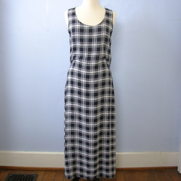 Vintage 90's grunge black and white plaid sleeveless maxi dress, women's size medium