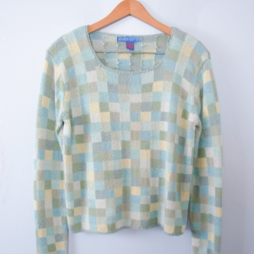 Vintage 90's cropped blue sweater, women's size small