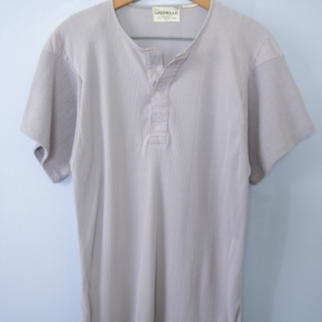 Vintage 80's grey henley tee shirt, men's size medium