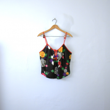 Vintage 80's black floral silky camisole with cut outs, women's size medium
