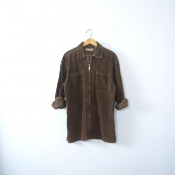 Vintage 90's grunge brown oversized corduroy shirt zip up jacket, women's size medium / large