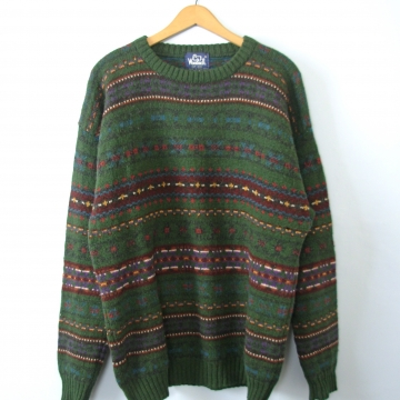 Vintage 90's forest green wool sweater, oversized mens sweater, size XL
