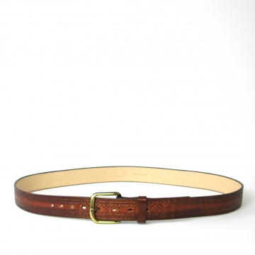 Vintage 90's tooled brown leather belt, size XL / 44
