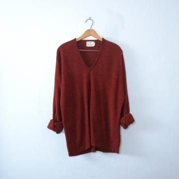 Vintage 40's Cincinnati maroon fleece sweater pullover, men's size 2XL plus sized