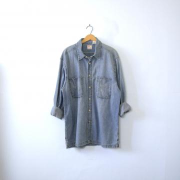 Vintage 90's Levi's denim shirt, chambray button up shirt, size XL