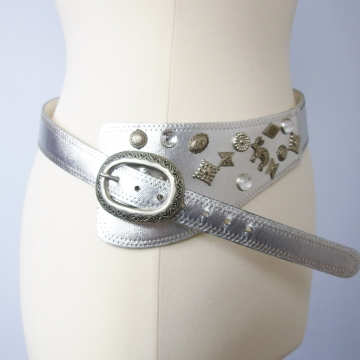 Vintage 80's silver western asymmetrical belt, size medium