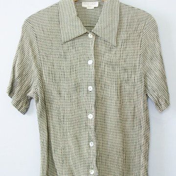 90's black and white crinkled gingham button up short sleeve shirt blouse, women's size large