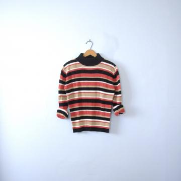 Vintage 90's striped mock turtleneck sweater, women's size medium