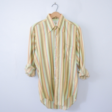 Vintage 70's rainbow striped button up shirt with pocket, men's size small