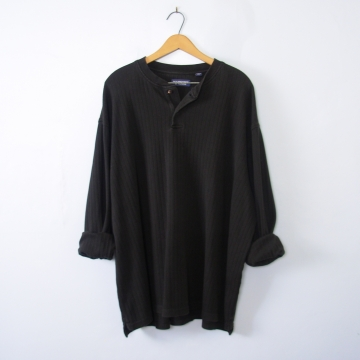 Vintage 90's black henley long sleeved shirt, men's size XXL